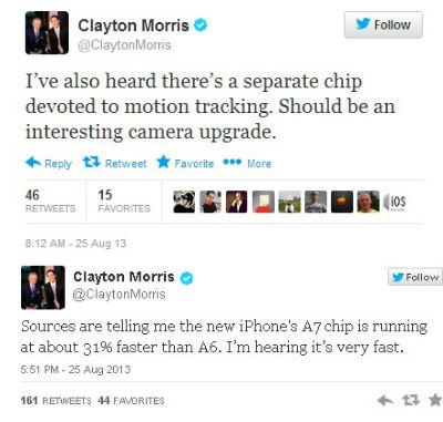 Clayton Morris iPhone 5S tweet