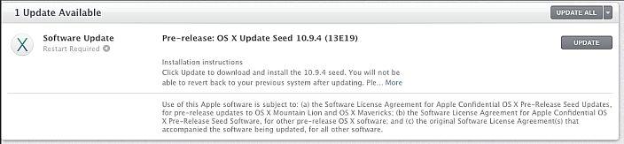 OS X 10.9.4 beta build 13E19