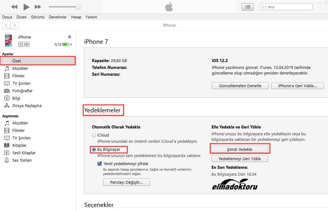 iTunes ile iPhone yedekleme nasıl yapılır