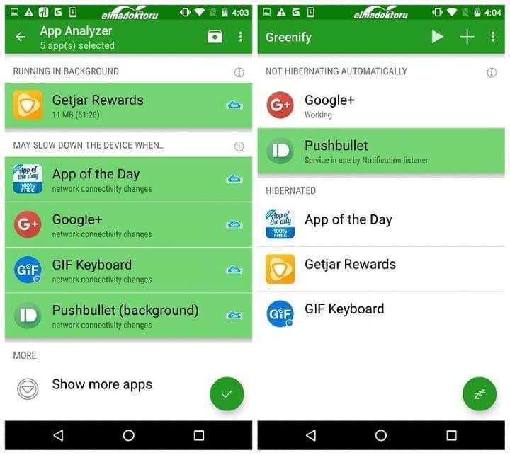 android greenify uygulaması