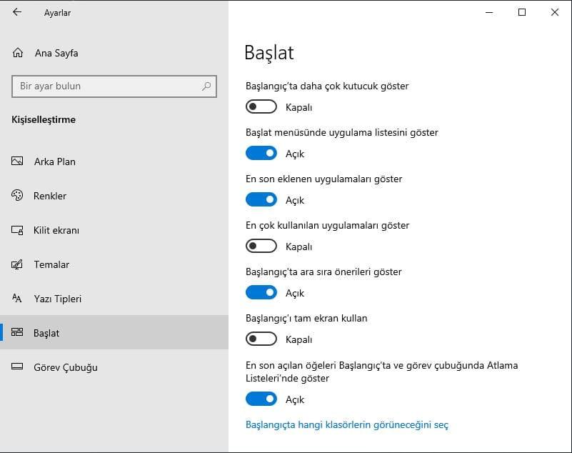 windows 10 başlat ekran ayarları