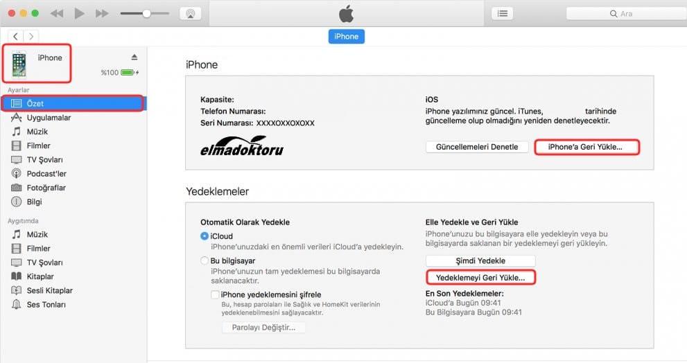 iTunes iPhone yedekten geri yükleme 1