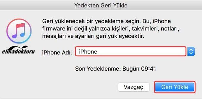 iTunes iPhone yedekten geri yükleme 2